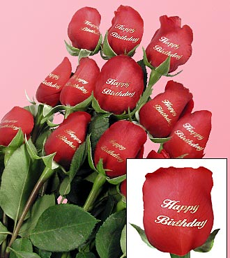One Dozen Speaking Happy Birthday Red Roses