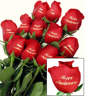"One Dozen ""Happy Anniversary"" Red Roses"